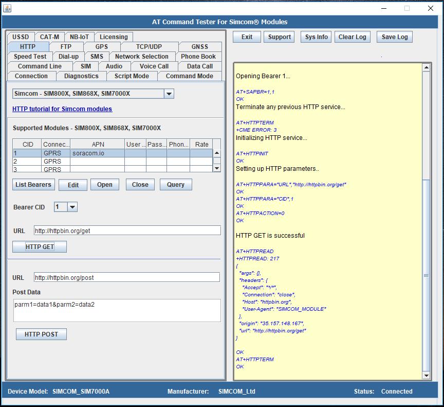 HTTP testing with Simcom SIM7000 and SIM800 Modules