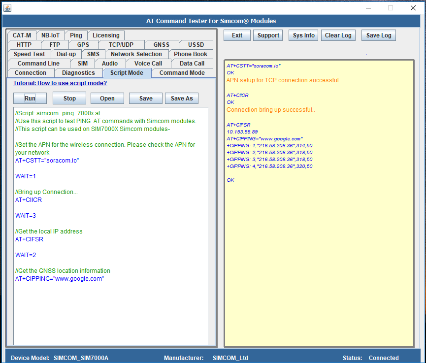Ping testing with Simcom SIM7000 Modules   M2MSupport net