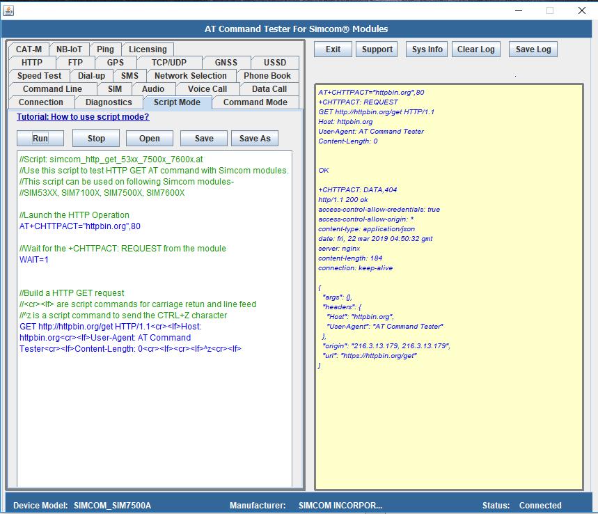 HTTP testing with Simcom SIM7500, SIM7600, SIM7100 and SIM53XX