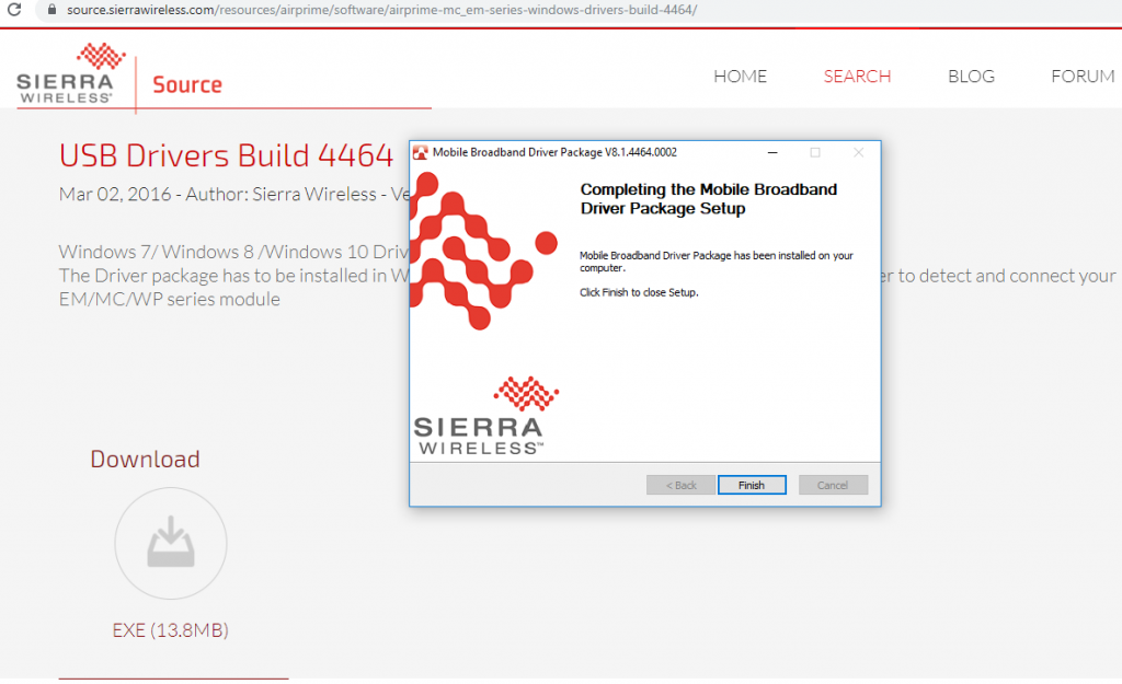 Install drivers for Sierra Wireless Modules | M2MSupport net